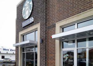 Aluminum Architectural Cantilevered Canopies - Starbucks - Chicago, Illinois