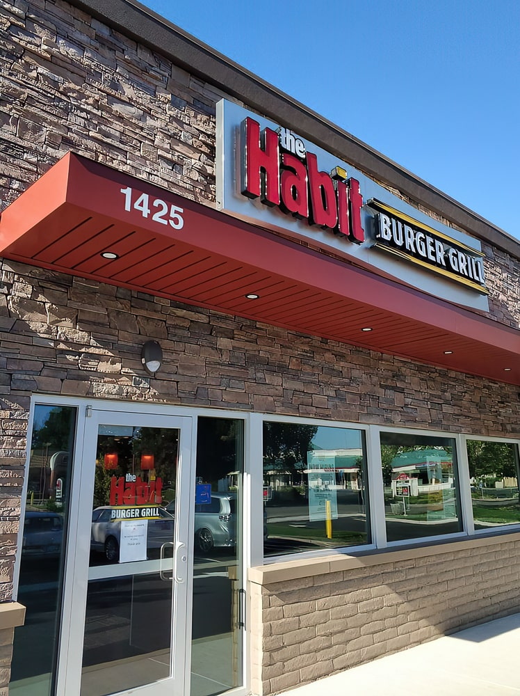 Aluminum Architectural Cantilevered Canopies - The Habit Burger Grill - Dixon, California