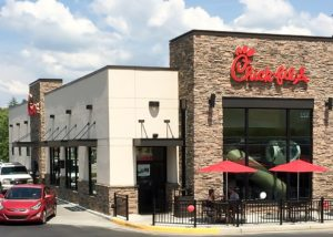 Aluminum Architectural Hanger Rod Canopies - Chick-Fil-A - Blairsville, Georgia