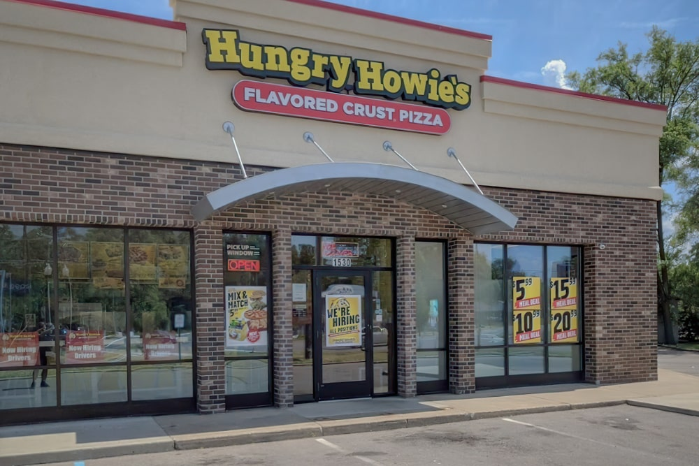 Arched Aluminum Architectural Hanger Rod Canopies - Hungry Howie's - Ypsilanti, Michigan