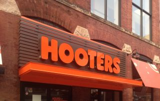 Awnex Featured Project - Aluminum Architectural Gutter Canopies - Hooters - Indianapolis, Indiana