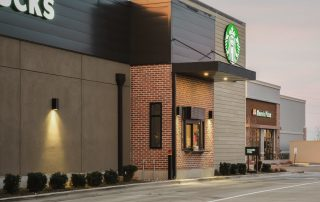 Awnex Featured Project - Architectural Gutter Canopies - Starbucks - Meridian, Idaho