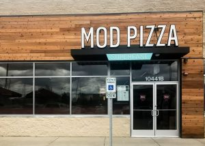 Awnex Featured Project, Hanger Rod Architectural Canopies, Mod Pizza - Highland, Indiana.