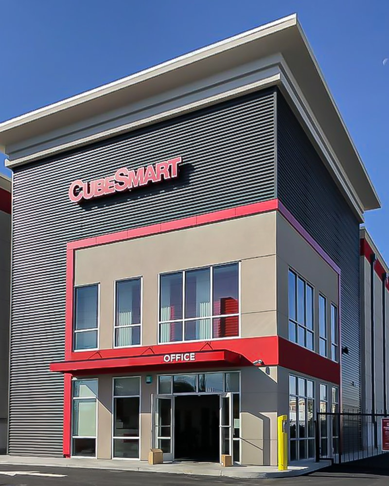Awnex Featured Project - Hanger Rod Gutter Architectural Canopies - CubeSmart - Richmond, Virginia