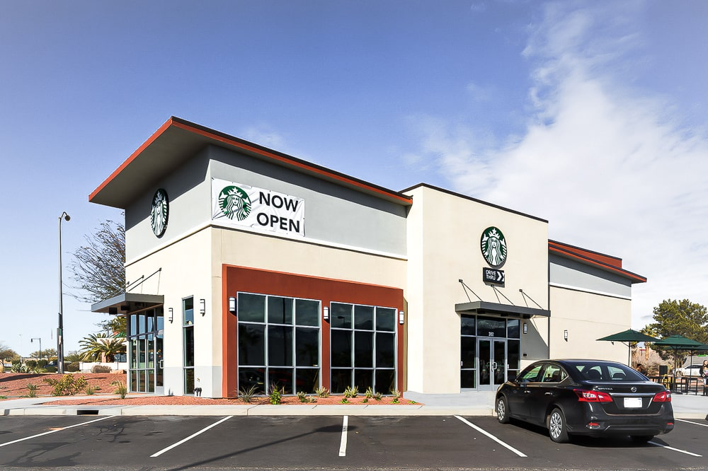 Awnex - prefabricated Architectural canopies - Starbucks - Mesquite, Nevada