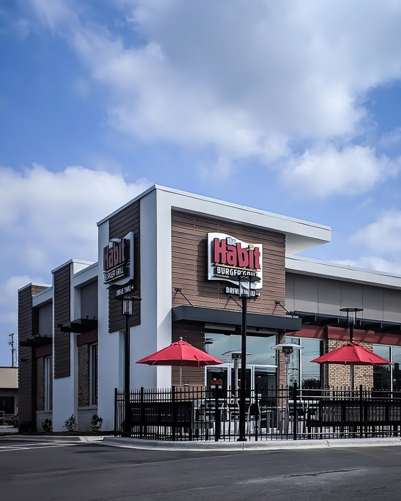 Awnex - prefabricated Architectural canopies - The Habit Burger - Clemmons, North Carolina