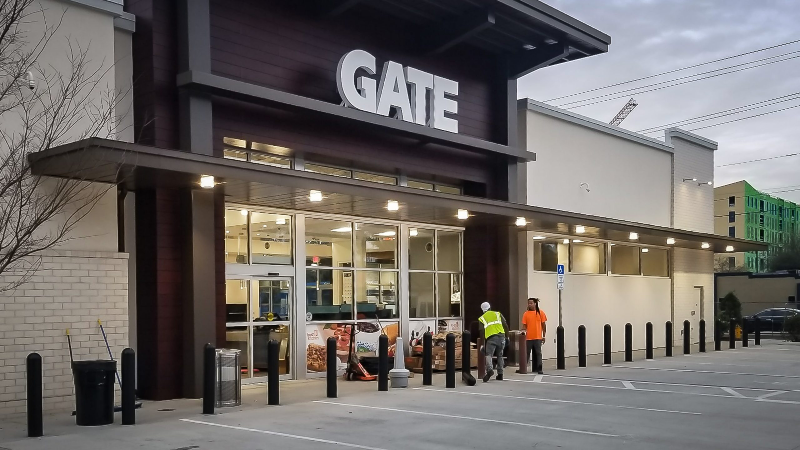 Awnex Cantilevered Canopy project at Gate Gas Station in Gainesville Florida, Front view.
