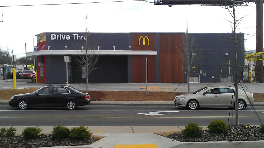 Curved Architectural Hanger Rod Canopies - McDonald's - Atlanta, Georgia