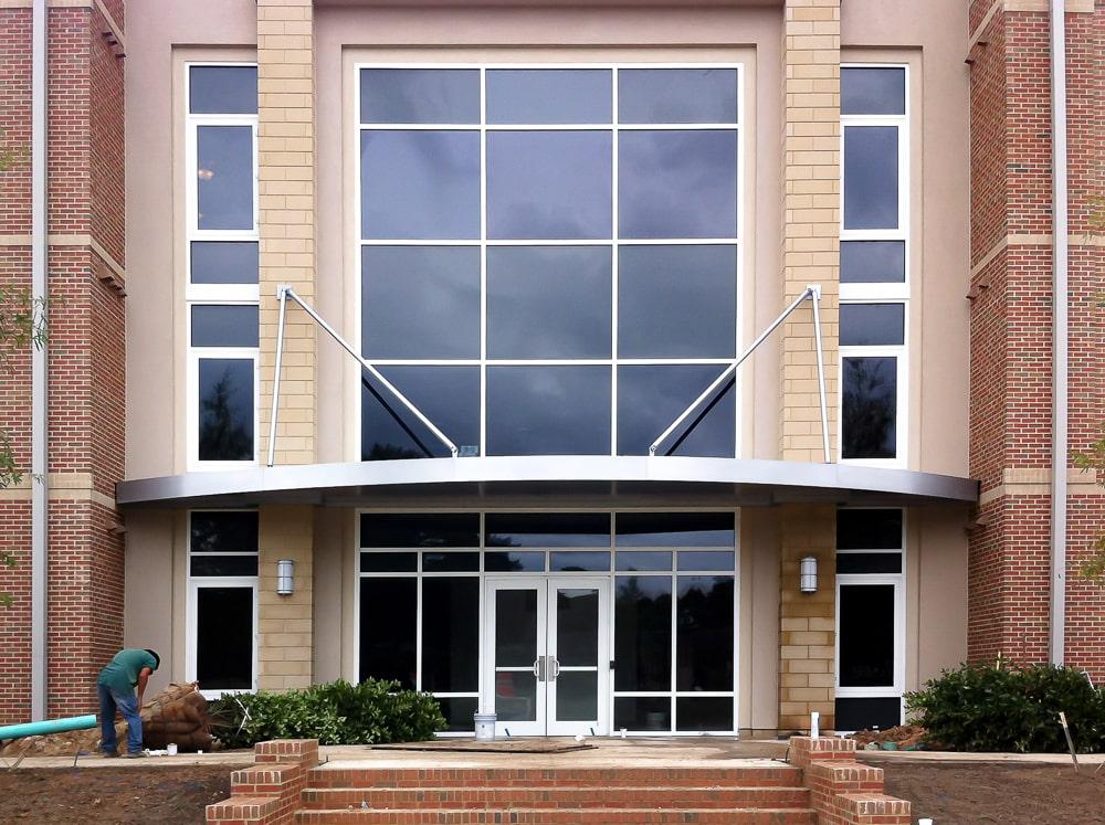 Curved Architectural Hanger Rod Canopies - Mercer Village - Macon, Georgia