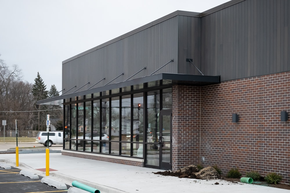 Aluminum architectural hanger rod canopies - Starbucks - Elgin, Illinois